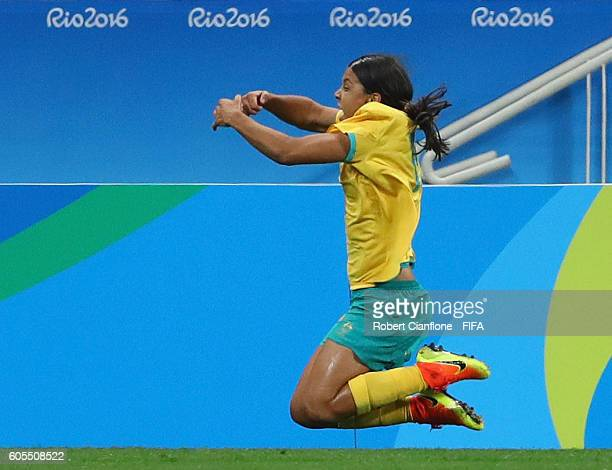 Samantha Kerr of Australia celebrates after scoring a goal during the Women's First Round Group F match between Germany and Australia on Day 1 of the...
