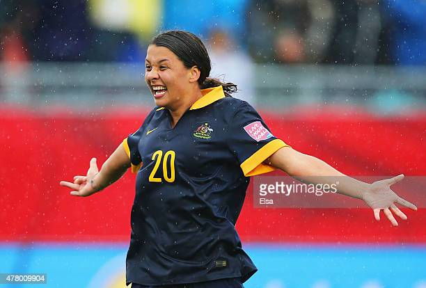 Samantha Kerr of Australia celebrates victory after the FIFA Women's World Cup 2015 round of 16 match between Brazil and Australia at Moncton Stadium...
