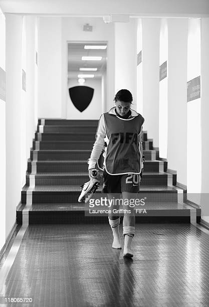 Samantha Kerr of Australia walks in the tunnel after the FIFA Women's World Cup 2011 Group D match between Australia and Equatorial Guinea at the...
