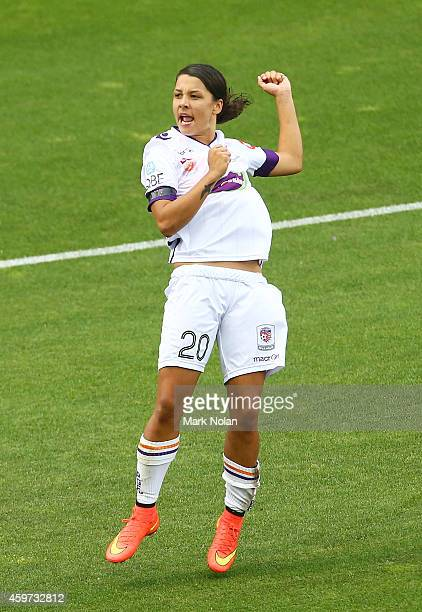 Samantha Kerr of Perth celebrates after scoring a goal during the round 11 WLeague match between Sydney FC and Perth Glory at WIN Stadium on November...