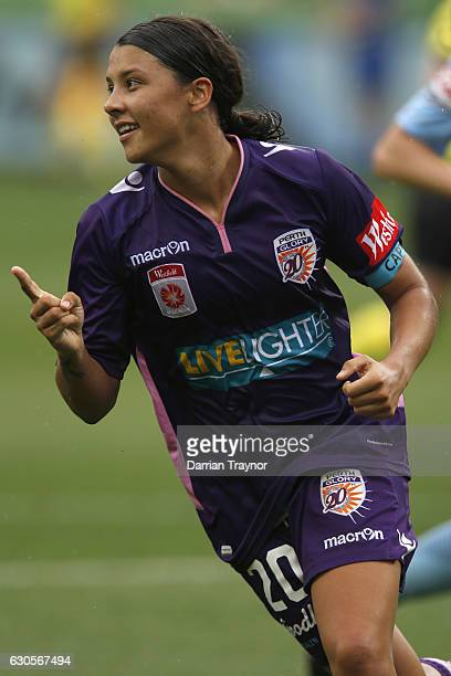 Samantha Kerr of Perth Glory celebrates a goal during the round eight WLeague match between Melbourne City and Perth at AAMI Park on December 27 2016...
