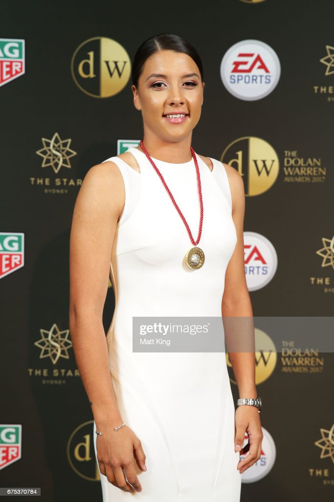 Samantha Kerr of Perth Glory FC poses with the Julie Dolan Medal during the FFA Dolan Warren Awards at The Star on May 1, 2017 in Sydney, Australia.