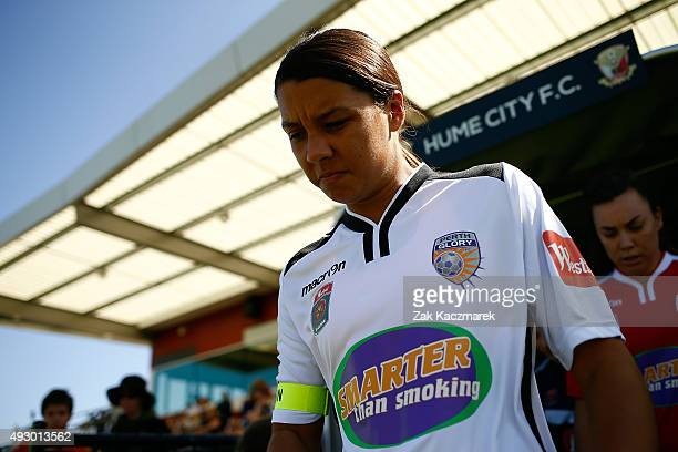 Samantha Kerr of Perth takes to the field during the round one WLeague match between the Melbourne Victory and Perth Glory at Broadmeadows Valley...