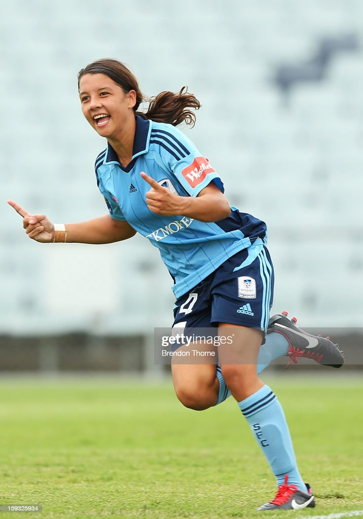 <a gi-track='captionPersonalityLinkClicked' href=/galleries/search?phrase=Samantha+Kerr&family=editorial&specificpeople=4860468 ng-click='$event.stopPropagation()'>Samantha Kerr</a> of Sydney celebrates after scoring Sydney's second goal against the Wanderers during the round 12 W-League match between the Western Sydney Wanderers and Sydney FC at Campbelltown Sports Stadium on January 12, 2013 in Sydney, Australia.