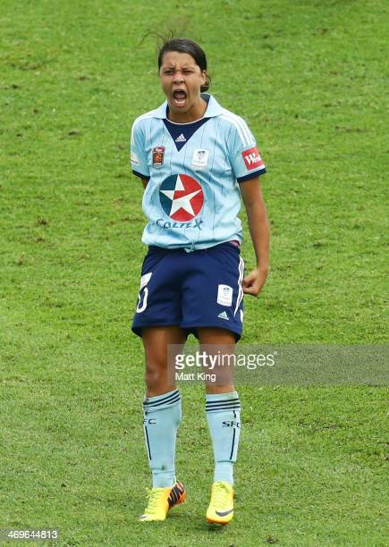 Samantha Kerr of Sydney FC celebrates scoring their first goal during the WLeague Semi Final match between Sydney FC and Melbourne Victory at WIN...