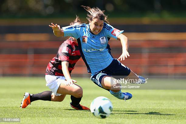 Samantha Kerr of Sydney FC is tackled by Servet Uzunlar of the Wanderers during the round two WLeague match between Sydney FC and the Western Sydney...