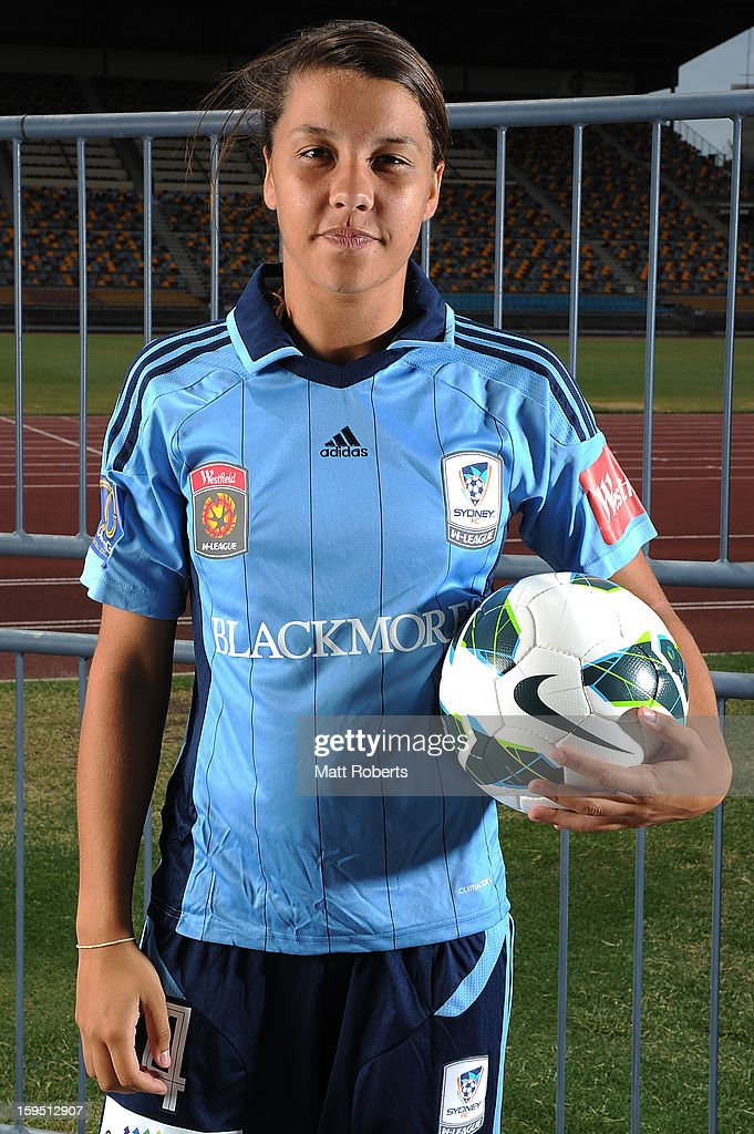 <a gi-track='captionPersonalityLinkClicked' href=/galleries/search?phrase=Samantha+Kerr&family=editorial&specificpeople=4860468 ng-click='$event.stopPropagation()'>Samantha Kerr</a> of Sydney FC poses during the W-League FFA finals series launch at Queensland Sport and Athletics Centre on January 15, 2013 in Brisbane, Australia.