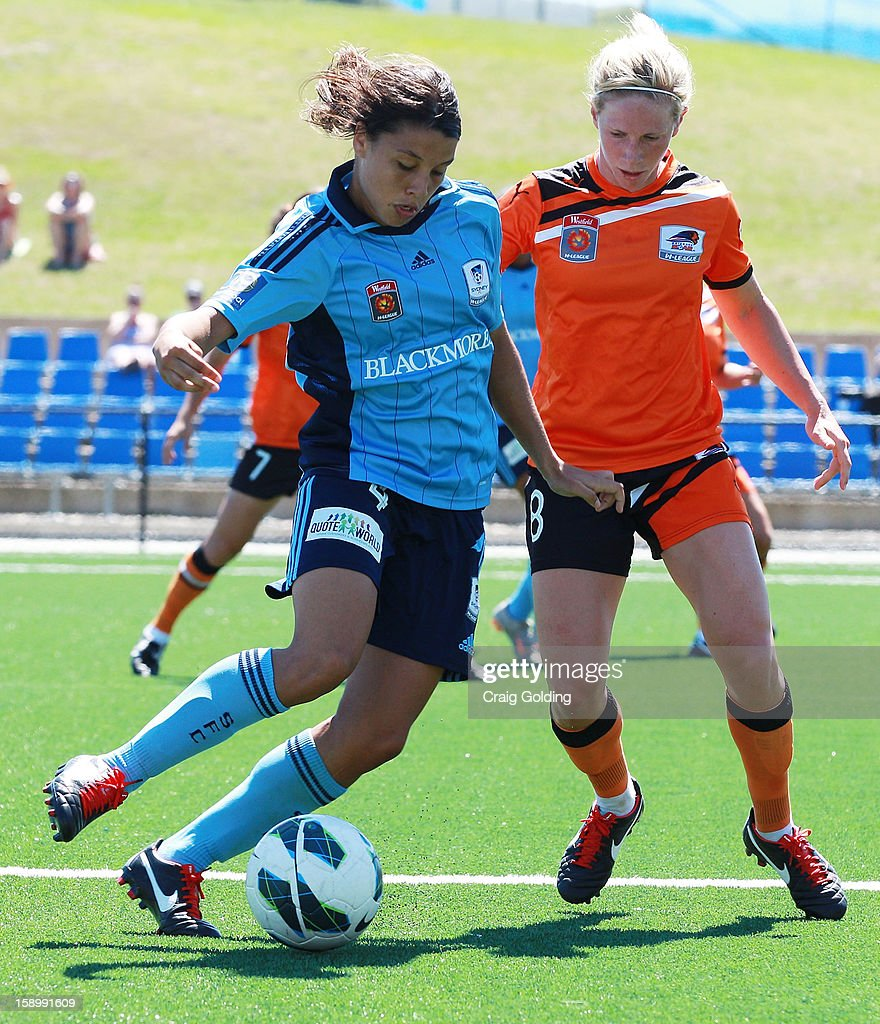 Samantha Kerr of Sydney with the ball during the round 11 W-League match between Sydney FC and the Brisbane Roar on January 5, 2013 in Sydney, Australia.