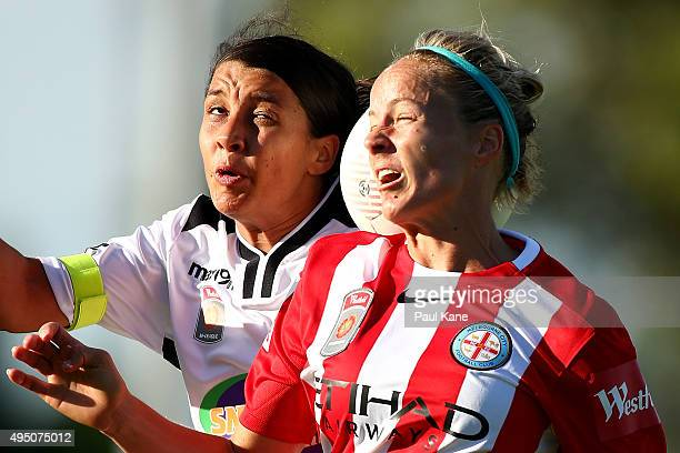 Samantha Kerr of the Glory and Aivi Luik of City contest a header during the round three WLeague match between Perth Glory and Melbourne City FC at...