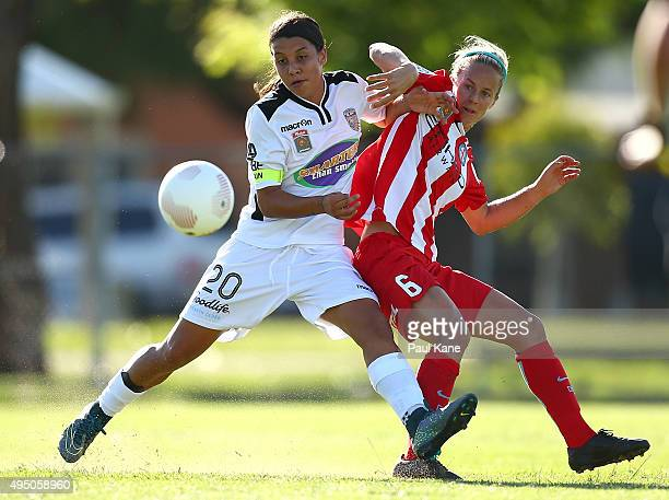 Samantha Kerr of the Glory and Aivi Luik of City contest for the ball during the round three WLeague match between Perth Glory and Melbourne City FC...