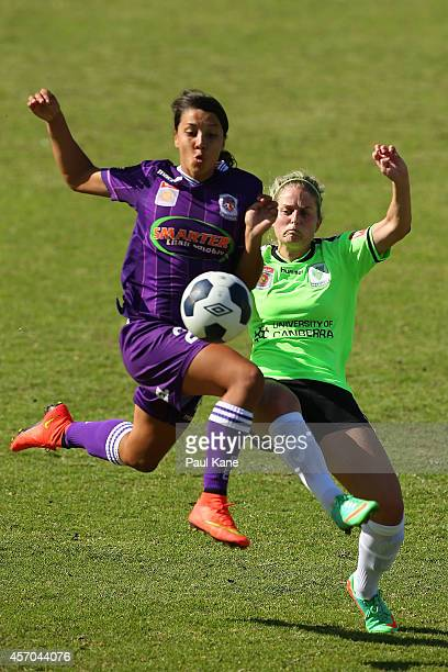 Samantha Kerr of the Glory and Ellie Brush of Canberra contest for the ball during the round five WLeague match between Perth and Canberra at...