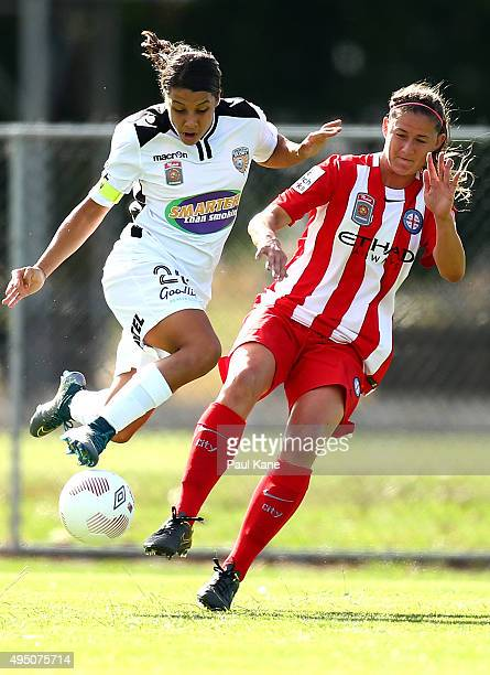 Samantha Kerr of the Glory and Laura Alleway of City contest for the ball during the round three WLeague match between Perth Glory and Melbourne City...