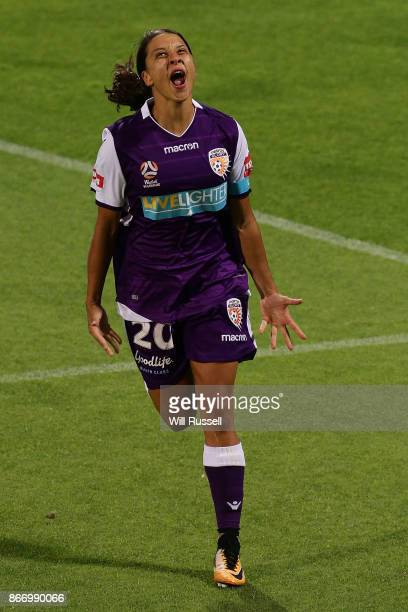 Samantha Kerr of the Glory celebrates after scoring a goal during the round one WLeague match between the Perth Glory and Melbourne City FC at nib...