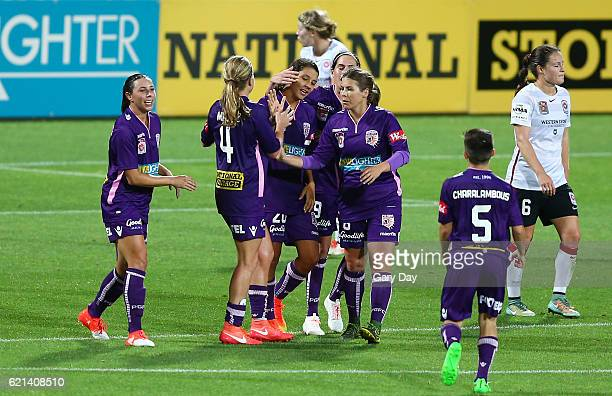 Samantha Kerr of the Glory celebrates scoring a goal during the round one WLeague match between the Perth Glory and the Western Sydney Wanderers at...