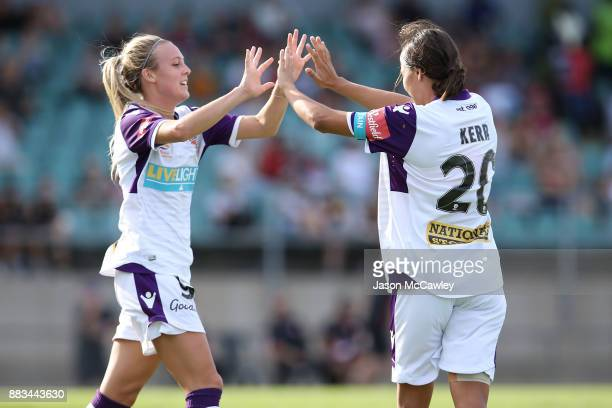 Samantha Kerr of the Glory celebrates with Rachel Hill after scoring a goal during the round six WLeague match between the Western Sydney Wanderers...