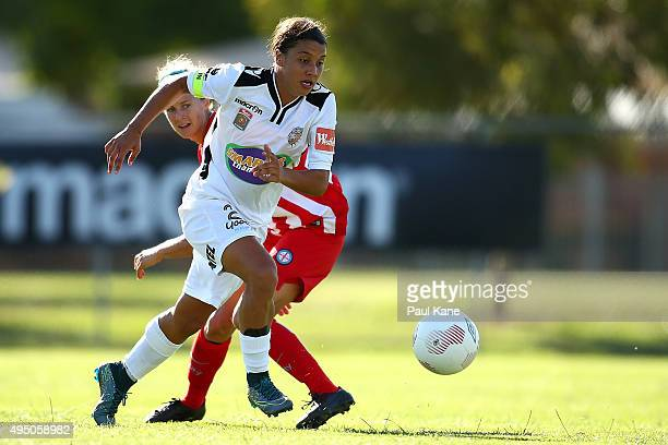 Samantha Kerr of the Glory controls the ball during the round three WLeague match between Perth Glory and Melbourne City FC at Ashfield Sports Club...