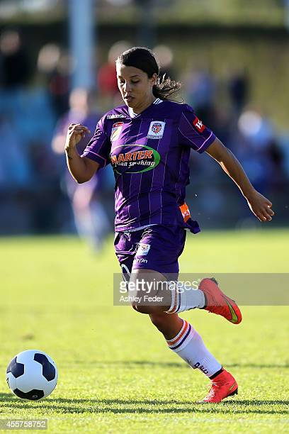 Samantha Kerr of the Glory controls the ball during the round two WLeague match between the Newcastle Jets and the Perth Glory at Magic Park on...