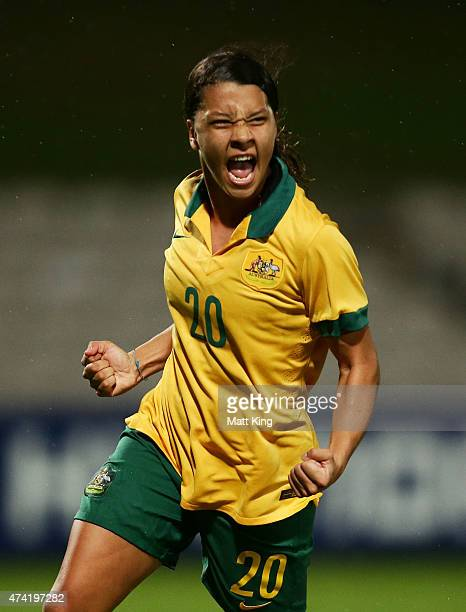 Samantha Kerr of the Matildas celebrates scoring a goal during the international women's friendly match between the Australian Matildas and Vietnam...