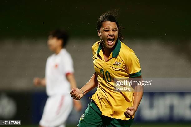 Samantha Kerr of the Matildas celebrates scoring a goal during the international women's friendly match between the Australian Matildas and Vietnam...