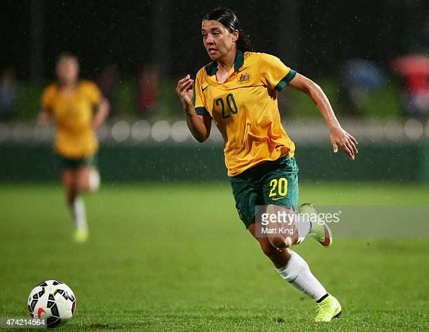 Samantha Kerr of the Matildas controls the ball during the international women's friendly match between the Australian Matildas and Vietnam at WIN...
