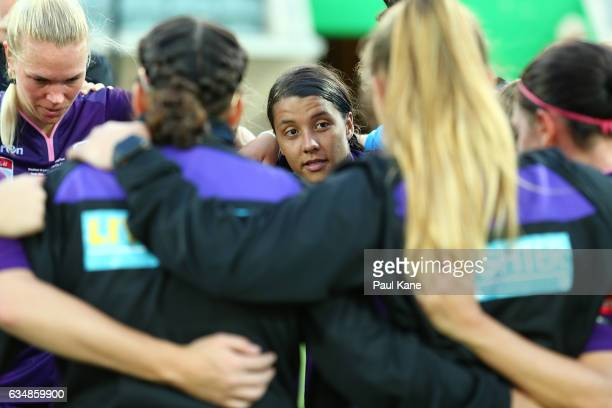 Samantha Kerr of the Perth Glory addresses the team after being defeated during the 2017 WLeague Grand Final match between the Perth Glory and...