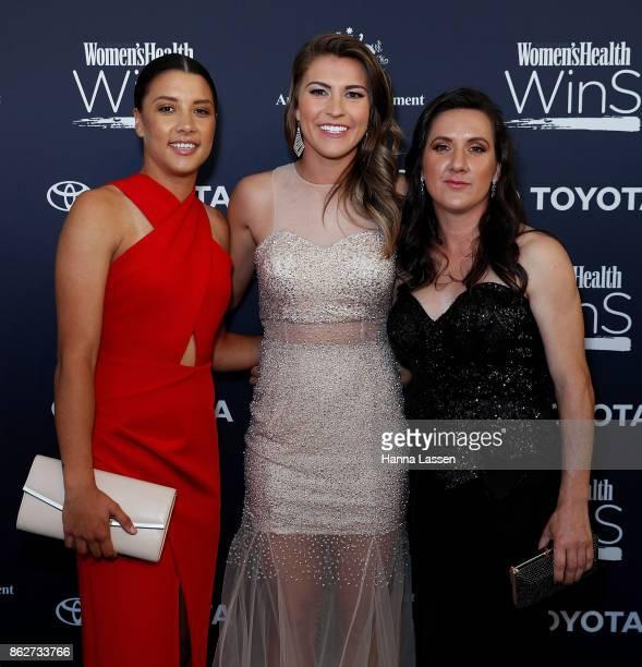 Samantha Kerr Stephanie Catley and Lisa De Vanna arrive ahead of Women's Health Women In Sport Awards on October 18 2017 in Sydney Australia