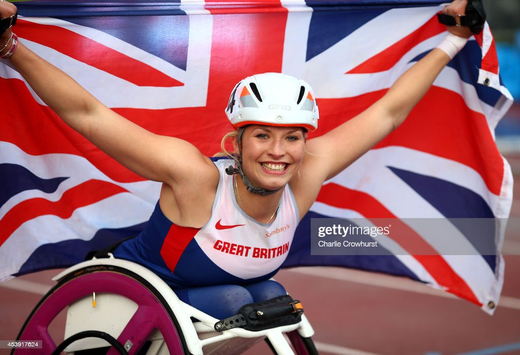 Samantha Kinghorn of Great Britain celebrates after winning the womens 800M T53 final and her third gold medal during day three of the IPC Athletics European Championships at Swansea University Sports Village on August 21, 2014 in Swansea, Wales.