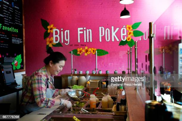 Samantha Liang prepares a poke bowl at Big Fin Poke in Westbrook Monday April 3 2017