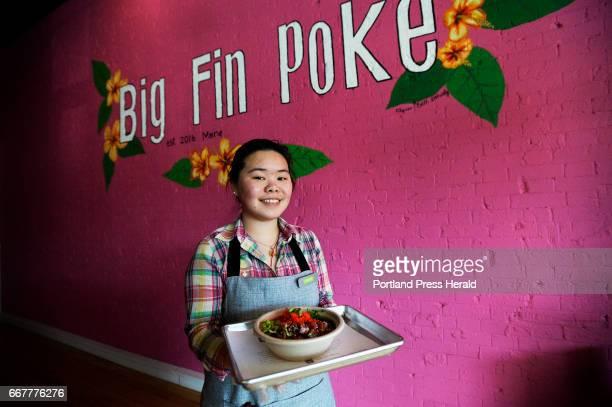 Samantha Liang shows off a poke bowl at Big Fin Poke in Westbrook Monday April 3 2017