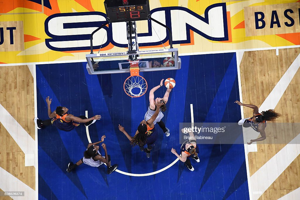 Samantha Logic #22 of the San Antonio Stars shoots a lay up against the Connecticut Sun in a WNBA preseason game on May 5, 2016 at the Mohegan Sun Arena in Uncasville, Connecticut.