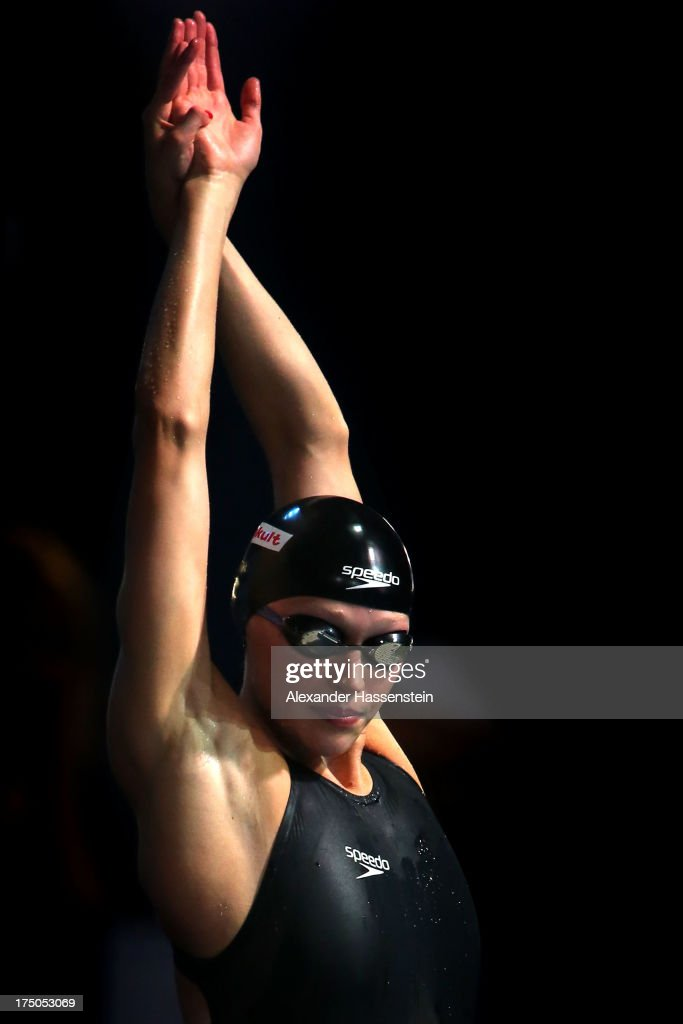 Samantha Lucie-Smith of New Zealand prepares to compete in the Swimming Women's 200 Freestyle heat on day eleven of the 15th FINA World Championships at Palau Sant Jordi on July 30, 2013 in Barcelona, Spain.