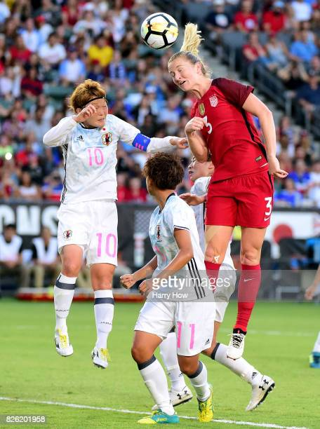 Samantha Mewis of the United States attempts a header with Mizuho Sakaguchi and Mina Tanaka of Japan during the first half of the 2017 Tournament Of...