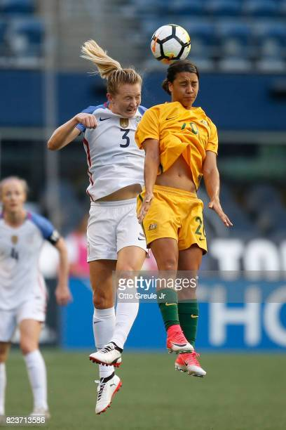 Samantha Mewis of the United States battles Samantha Kerr of Australia during the 2017 Tournament of Nations at CenturyLink Field on July 27 2017 in...