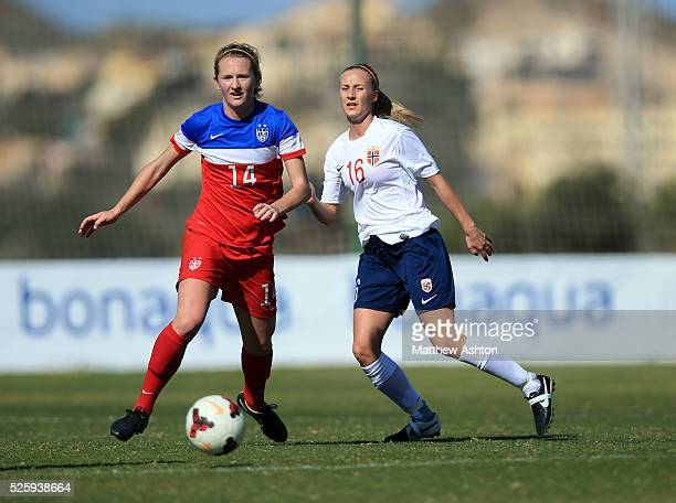 Samantha Mewis of United States of America USA Women U23 and Anja Sonstevold of Norway Women U23