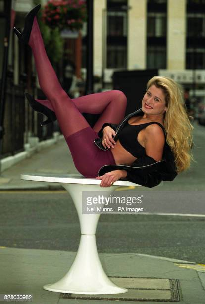 Samantha Models new a revolutionary new concept in tights Aristoc Bodytoners there are various colours in the range the model wears 'Turkish Plum'