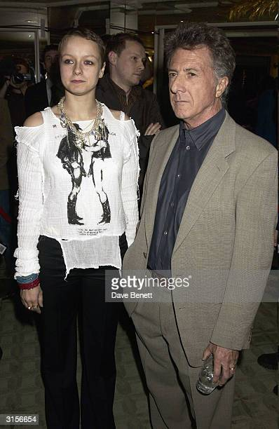 Samantha Morton and Dustin Hoffman attends the 2003 Empire Magazine Awards at the Dorchester Hotel on February 6 2003 in London