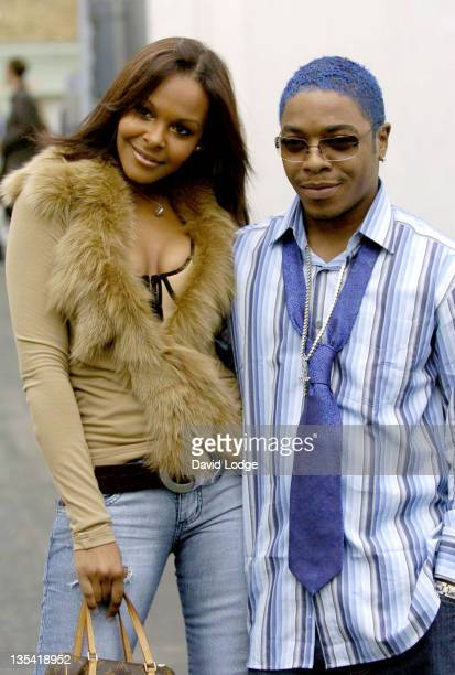 Samantha Mumba and Sisqo during London Fashion Week Spring 2005 Scott Henshall Arrivals at ExSaatchi Gallery in London Great Britain