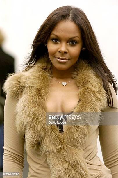 Samantha Mumba during London Fashion Week Spring 2005 Scott Henshall Arrivals at ExSaatchi Gallery in London Great Britain