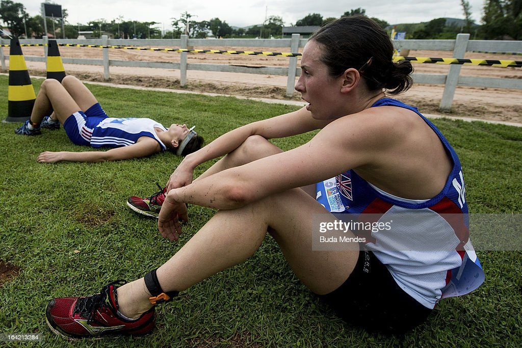 Samantha Murray (R) of Great Britain after competes in the Women's Pentathlon during the Modern Pentathlon World Cup Series 2013 at Complexo Deodoro on March 20, 2013 in Rio de Janeiro, Brazil.