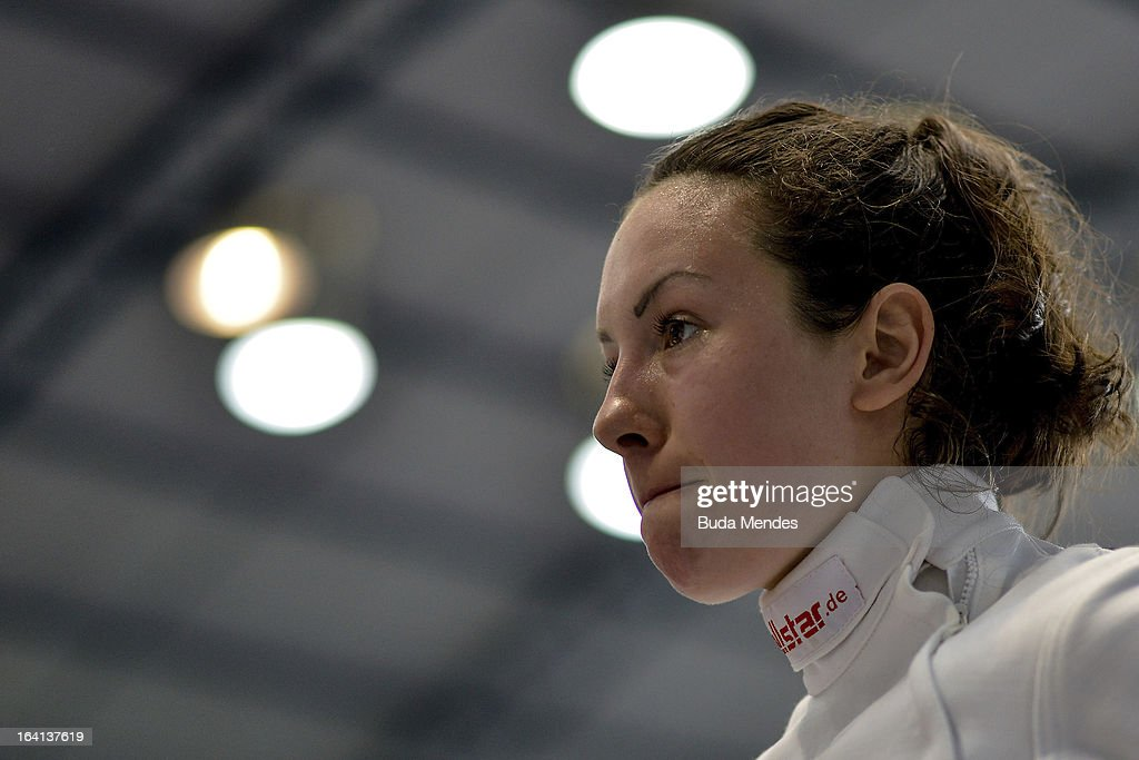 Samantha Murray of Great Britain looks on prior to the fencing event in the Women's Pentathlon during the Modern Pentathlon World Cup Series 2013 at Complexo Deodoro on March 20, 2013 in Rio de Janeiro, Brazil.