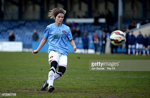 Samantha Pittuck of Charlton Athletic Women's FC scores the winning penalty against Sheffield FC Ladies to win the FA Women's Premier League Cup...