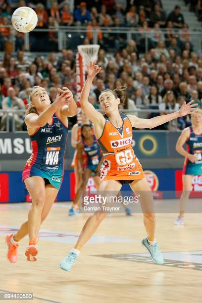 Samantha Poolman of the Giants intercepts a pass during the Super Netball Preliminary Final match between the Vixens and the Giants at Hisense Arena...