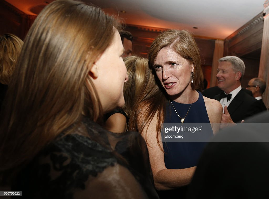 Samantha Power, right, attends the Bloomberg Vanity Fair White House Correspondents' Association (WHCA) dinner afterparty in Washington, D.C., U.S., on Saturday, April 30, 2016. The 102nd WHCA raises money for scholarships and honors the recipients of the organization's journalism awards. Photographer: Andrew Harrer/Bloomberg via Getty Images