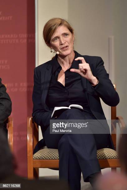 Samantha Power speaks at the Harvard University John F Kennedy Jr Forum in a program titled 'Perspectives on National Security' moderated by Rachel...