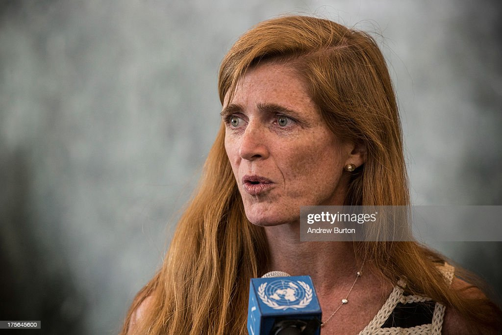 Samantha Power speaks to members of the media while arriving at the United Nations (UN) for the first time as the United States Ambassador to the UN on August 5, 2013 in New York City. Power was confirmed for the position by Congress on August 1, 2013, with an 87-to-10 vote.
