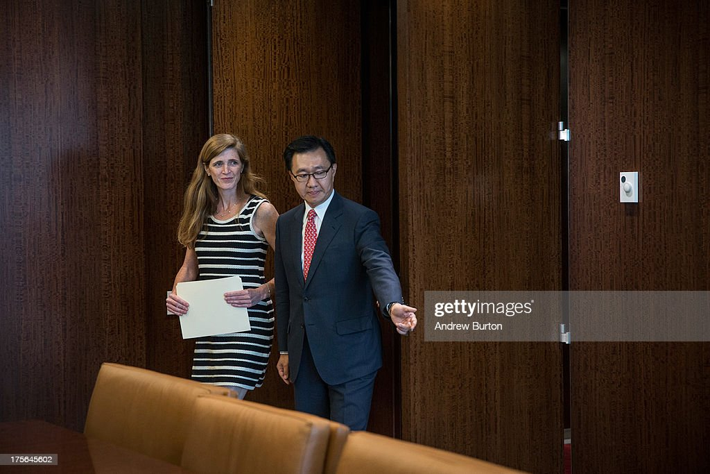 Samantha Power (L), United States Ambassador to the United Nations (UN), is brought into a room to meet with UN Secretary General Ban Ki-Moon at the UN on August 5, 2013 in New York City. Power was confirmed for the position by Congress on August 1, 2013, with an 87-to-10 vote.