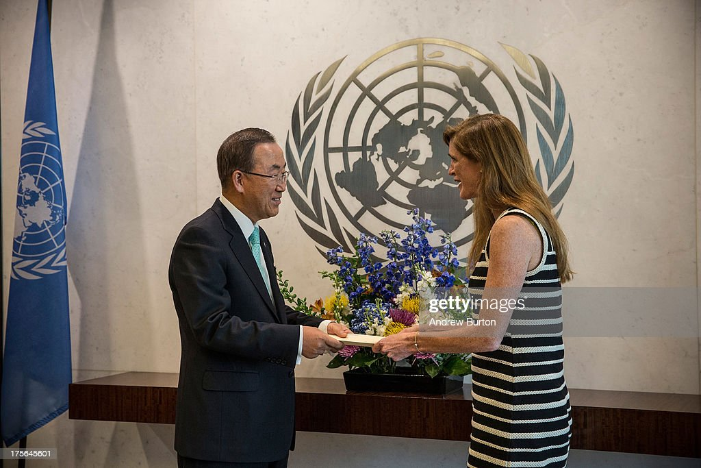Samantha Power (R), United States Ambassador to the United Nations (UN), meets with UN Secretary General <a gi-track='captionPersonalityLinkClicked' href=/galleries/search?phrase=Ban+Ki-Moon&family=editorial&specificpeople=206144 ng-click='$event.stopPropagation()'>Ban Ki-Moon</a> at the UN on August 5, 2013 in New York City. Power was confirmed for the position by Congress on August 1, 2013, with an 87-to-10 vote.
