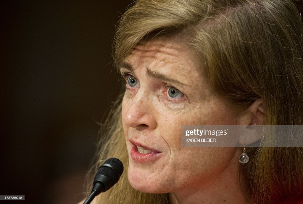 Samantha Power, US President Barack Obama's nominee to be the representative to the United Nations, testifies before the Senate Foreign Relations Committee Full committee on July 17, 2013 on Capitol Hill in Washington, DC. If nominated, Power will also be the representative of the United States of America in the Security Council of the United Nations and to be representative of the United States of America to the Sessions of the General Assembly of the United Nations.AFP PHOTO / Karen BLEIER