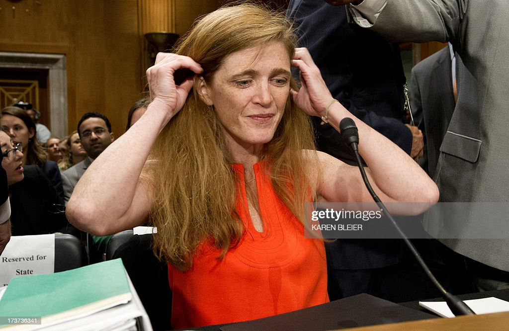 Samantha Power, US President Barack Obama's nominee to be the representative to the United Nations, arrives to testify before the Senate Foreign Relations Committee Full committee on July 17, 2013 on Capitol Hill in Washington, DC. If nominated, Power will also be the representative of the United States of America in the Security Council of the United Nations and to be representative of the United States of America to the Sessions of the General Assembly of the United Nations.AFP PHOTO / Karen BLEIER