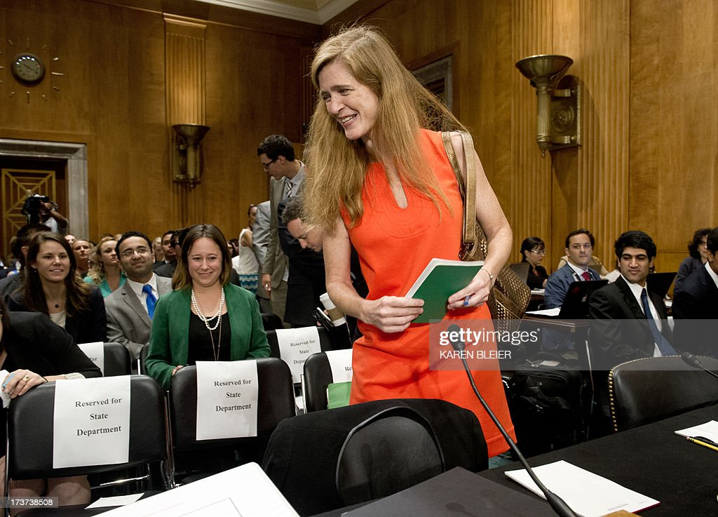 Samantha Power, US President Barack Obama's nominee to be the representative to the United Nations, arrives to testify before the Senate Foreign Relations Committee Full committee on July 17, 2013 on Capitol Hill in Washington, DC. If nominated, Power will also be the representative of the United States of America in the Security Council of the United Nations and to be representative of the United States of America to the Sessions of the General Assembly of the United Nations. AFP PHOTO / Karen BLEIER
